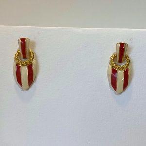 Vintage Red Striped Earrings